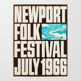 Vintage 1966 Newport Folk Festival Advertisement Poster Poster