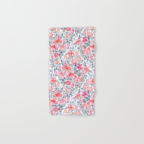 Coral and Grey Candy Striped Crayon Floral Hand & Bath Towel