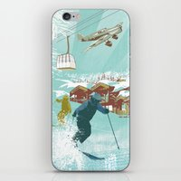 ski iPhone & iPod Skins featuring ski lift by michael cheung