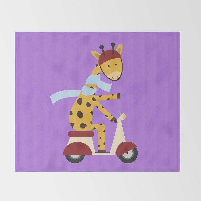 Giraffe on Motor Scooter Throw Blanket