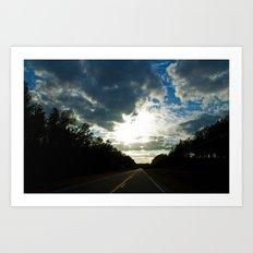 Driving on a Cloudy Evening Art Print
