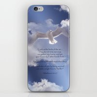 bible verses iPhone & iPod Skins featuring Seagull with Matthew 6:26-26 Verses by Photos and Images by Corri