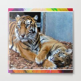 Tigress and Cub Metal Print