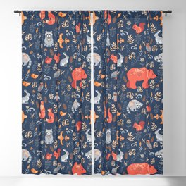 Fairy-tale forest. Fox, bear, raccoon, owls, rabbits, flowers and herbs on a blue background. Seamle Blackout Curtain