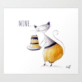 Greedy Cat Art Print