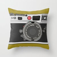 camera Throw Pillows featuring Camera by Illustrated by Jenny