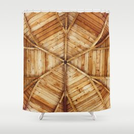 Wood Ceiling Mandala (Color) Shower Curtain