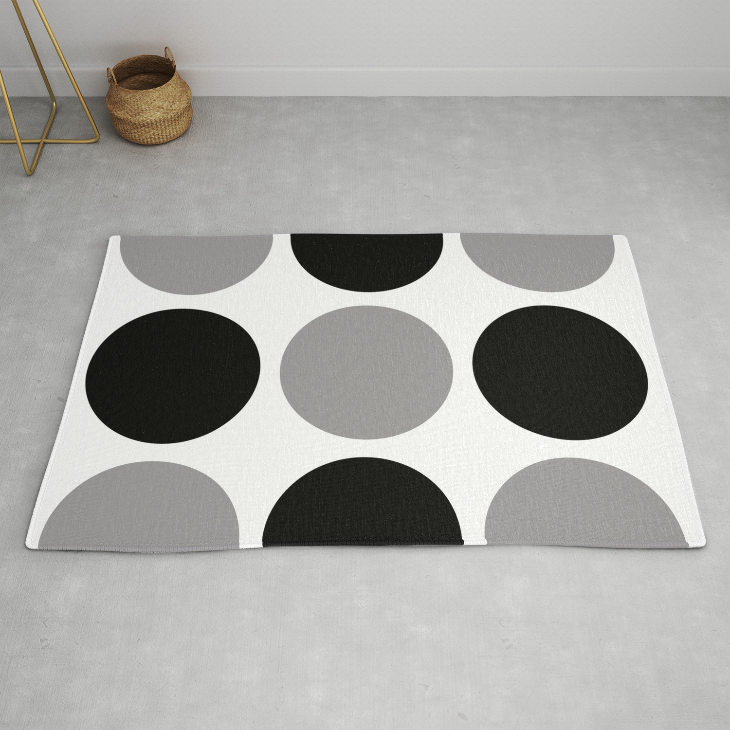 Picture of: Mid Century Modern Polka Dot Pattern 9 Black And Gray Rug By Tonymagner Society6