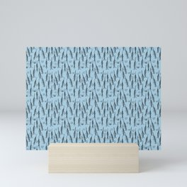 Arctic Narwhal Pattern (light blue) Mini Art Print