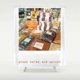 Greek Herbs and Spices Shower Curtain