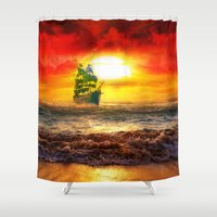 pirate ship Shower Curtains featuring Black Pearl Pirate Ship by Electra
