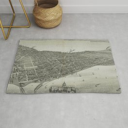 Vintage Pictorial Map of Madison WI (1885) Rug