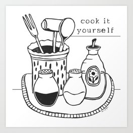 Cook it Yourself Folk Art Art Print
