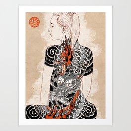 Woman dragón  Art Print