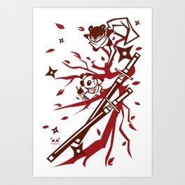The Epic Battle between Ninja Panda and Samurai Panda Art Print