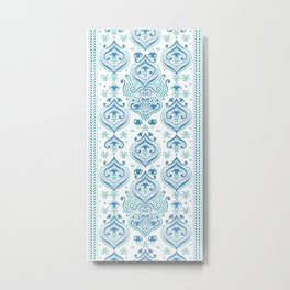 Blue and green floral pattern Metal Print