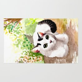 Cat in Garden Rug
