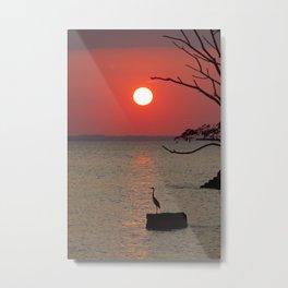 Sunset with Heron Metal Print