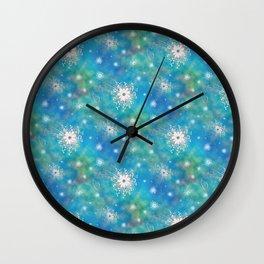 Blues Rainbow Florals Wall Clock