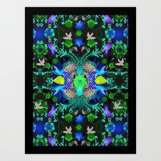 Kaleidoscope Flamingos Art Print