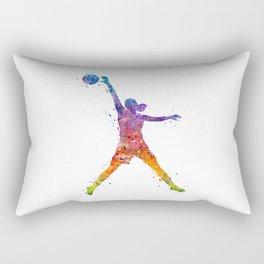 Girl Basketball Player Watercolor Art Colorful Sports Artwork Rectangular Pillow