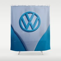 vw Shower Curtains featuring VW Splitty by Alice Gosling