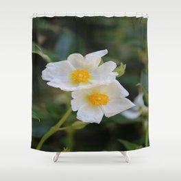 White Malva Shower Curtain