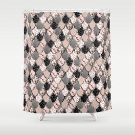 Rose Gold Blush Mermaid Princess Glitter Scales #1 #shiny #decor #art #society6 Shower Curtain
