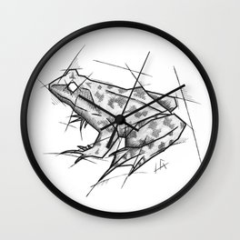 Frog Handmade Drawing, Made in pencil, charcoal and ink, Tattoo Sketch, Tattoo Flash, Sketch Wall Clock