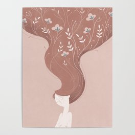 Woman in rose Poster