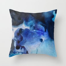 Indigo watercolor Throw Pillow