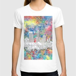 indianapolis city skyline watercolor T-shirt