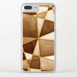 Brown Watercolor Skewed Color Blocks Clear iPhone Case
