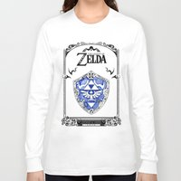 the legend of zelda Long Sleeve T-shirts featuring Zelda legend - Hylian shield by Art & Be