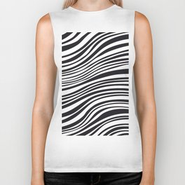 Modern Black & White Stipes - Zebra Animal Biker Tank
