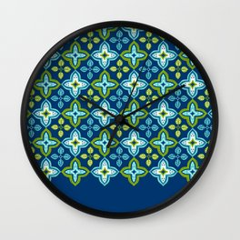 Leaf Tile Pattern Blue and Green Wall Clock