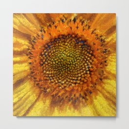 Sunflower and Seeds In Van Gogh Style Metal Print