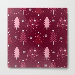 Cute Red Snow and Christmas Trees Metal Print