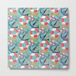 Nautical and marine pattern Metal Print
