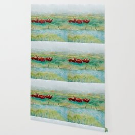 Wild Horse Band by Creek watercolor by CheyAnne Sexton Wallpaper