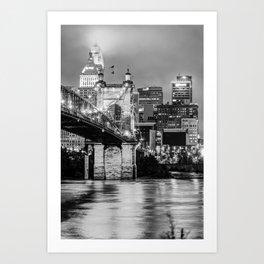 Cincinnati Skyline and John Roebling Bridge - Vertical Monochrome Art Print
