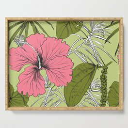 Tropical exotic flowers and leaves. Seamless pattern. Serving Tray
