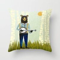 banjo Throw Pillows featuring Bear's Bourree - Bear Playing Banjo by Prelude Posters