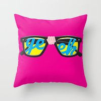 geek Throw Pillows featuring Geek by Aaron Synaptyx Fimister