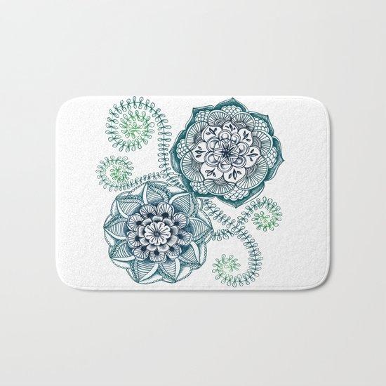 Teal Floral Doodle Bath Mat