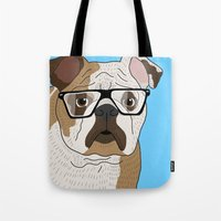 bulldog Tote Bags featuring bulldog by Ainsley wilson