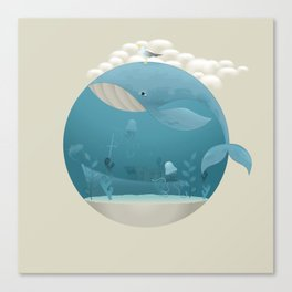 Seagull rest over whale Canvas Print