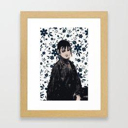 Girl in summer blue Framed Art Print