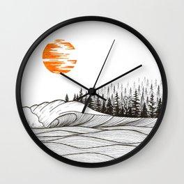 Orange sun Wall Clock