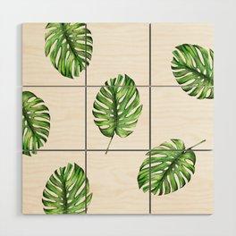 Monstera green leaves Wood Wall Art